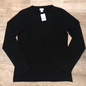 NWT J.Crew Black Cashmere Sweater - M